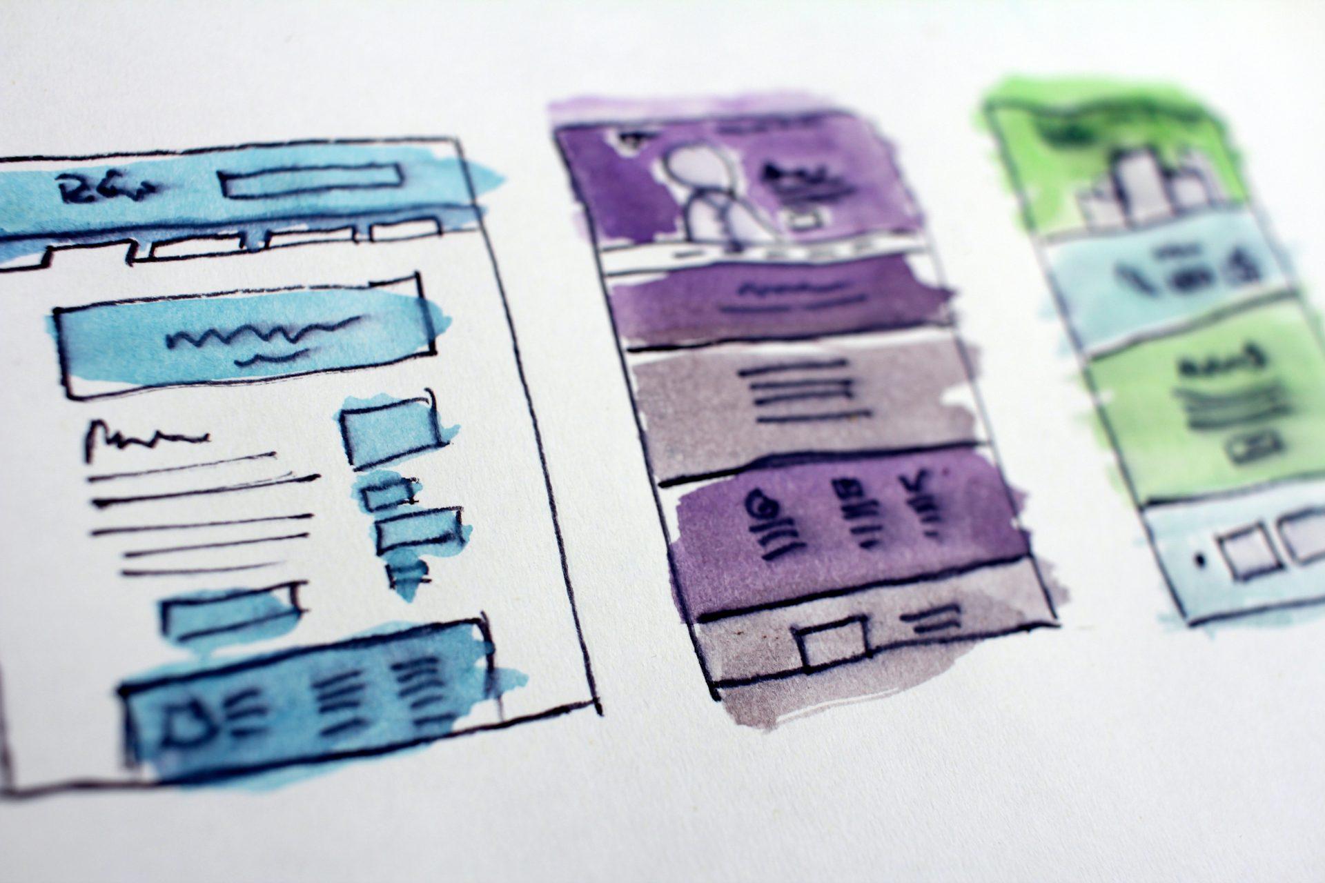 Dibujo con rotuladores del esquema de un sitio web, haz un borrador antes de crear tu propio sitio web