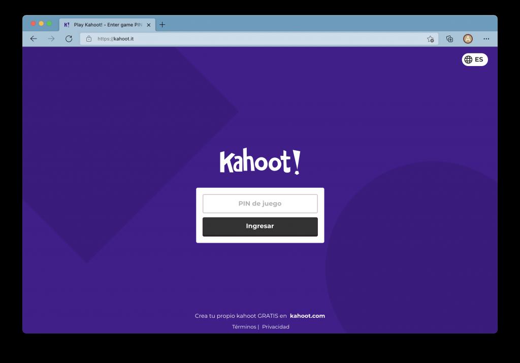 Captura de pantalla de la plataforma Kahoot para elaborar concursos de preguntas, una recomendación para tu estrategia de gamificación