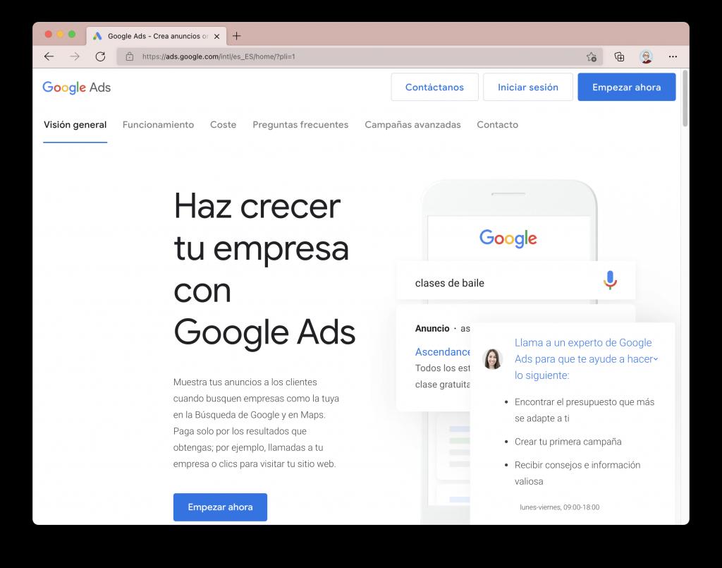 Captura de pantalla del sitio web de Google Ads.